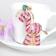 Zebra Pink Horse KeyChain Fashion Rhinestone Crystal Purse Bag ...