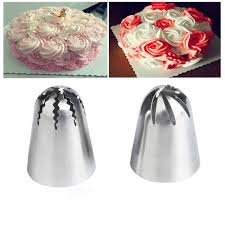 <b>2pcs large</b> rose piping nozzles cake decorating stainless steel ...