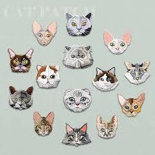 AHYONNIEX Brand <b>Cute Embroidery Cat</b> patch kid's clothing ...