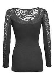 Women's <b>Casual Scoop Neck Lace</b> Inset Long Sleeve Comfort Slim ...