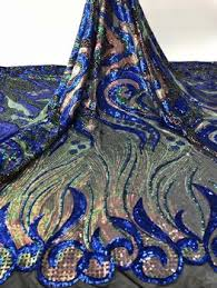 royal blue African sequins Lace Fabric 2020 High Quality Lace ...