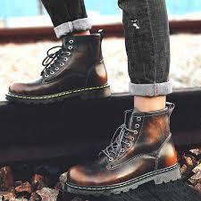 Men 2019 Boots <b>British</b> Martins Vintage Punk <b>Genuine</b> Martin Winter ...