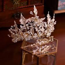 <b>Elegant</b> Gold Bridal Jewelry <b>2019 Metal</b> Pearl Rhinestone Tiara ...