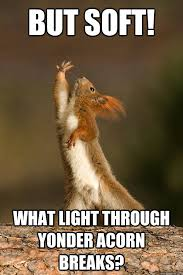 At first I was afraid I was petrified - Shakespeare Squirrel ... via Relatably.com