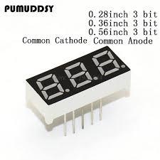 <b>4 Pcs</b> Common Cathode 11 Pin 3 Bit <b>7 Segment 0.56</b> Red LED ...