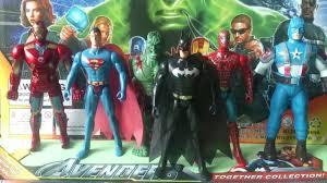 toys collection batman captain america iron man superman hulk and spider man youtube batman superman iron man