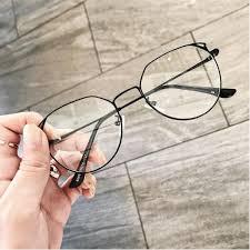 Korean <b>Retro Cat Ears</b> Round Frame Plain Glasses | Shopee ...