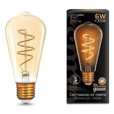 Светодиодная <b>лампа Gauss</b> LED <b>Filament</b> ST64 <b>Flexible</b> E27 6W ...