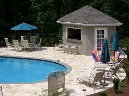 Swimming Pool  Stunning Pool House Designs For Modern House        Stunning Pool House Designs for Modern House   Magnificent Modern Style Pool House Designs Blue Parasol