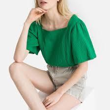 <b>Блузка</b> с короткими <b>рукавами</b> с воланами зеленый <b>La Redoute</b> ...