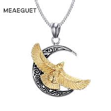 Meaeguet <b>Punk</b> Crescent Moon <b>Hawk</b> Necklace Gold color ...