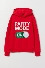 Printed hooded top - <b>Red</b>/<b>Party</b> Mode - Kids | H&M