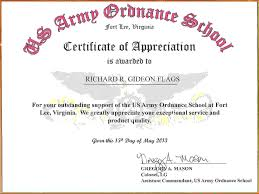 army certificate of appreciationreference letters words it
