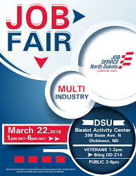 multi industry job fair dickinson job service north dakota job fair informational flier
