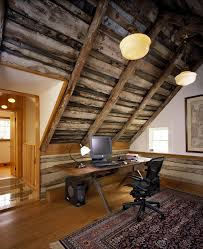 office cabin design ideas home office rustic with desk chair pendant lighting sloped ceiling cabin lighting ideas