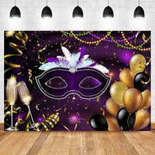 <b>NeoBack</b> Masks Masquerade Party Photo Backdrop Black Feather ...