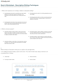quiz worksheet descriptive writing techniques com print descriptive writing definition techniques examples worksheet