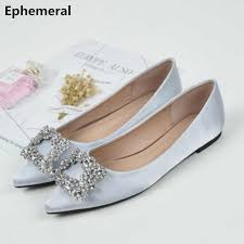 Female's Colorful Diamond Flats Silk Shoes Pointed Toe Party Bride ...