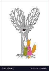 <b>Beautiful</b> magic tree <b>two</b> birds in a <b>hollow</b> hare Vector Image