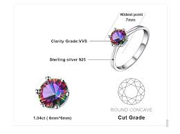 JewelryPalace 1ct Round <b>Natural Mystic Fire Rainbow Topaz</b> Ring ...