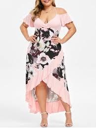 [35% OFF] Plus Size High Low <b>Cold Shoulder Ruffle</b> Dress | Rosegal