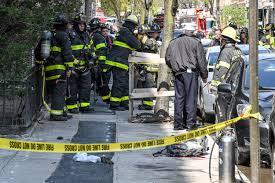 firefighter dead after five story fall battling blaze new york post