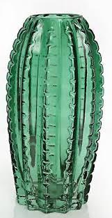 <b>Retro Vintage</b> Style Dark <b>Green</b> Glass <b>Cactus Leaf</b> Bud Flower Vase ...