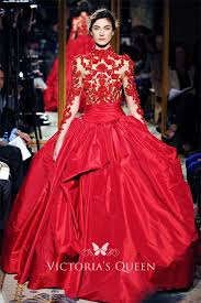 Floral Red High-neck <b>Long Sleeve</b> Prom Ball Gown - VQ