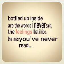 Bottled up inside are the words I never said | Love Quotes Sayings ... via Relatably.com