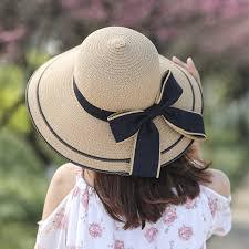 Outdoor folding straw hat female <b>summer Korean version of</b> the tide ...