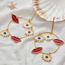 <b>2019 New</b> Design <b>Exaggerated</b> Long <b>Big</b> Evil Eyes Lips Charm Gold ...