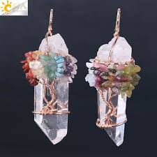 <b>CSJA</b> Men Big <b>Gemstone</b> Pendant Women <b>Natural</b> White Crystal ...