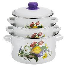 Набор кастрюль Эмаль белый <b>Набор эмалированной посуды</b> ...