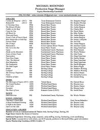 resume michael redondoproduction stage manager click here to michael s resume for printing