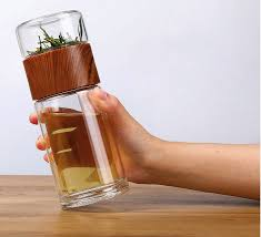 <b>New Double Layer</b> Glass Water <b>Cup</b> Portable High Temperature ...