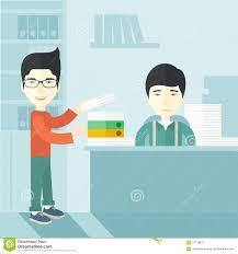 two asian office clerk inside the office stock vector image two asian office clerk inside the office