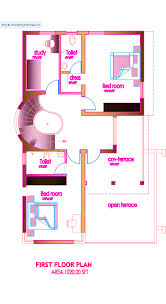 Modern house plan   Sq  Ft   Kerala home design and floor plansModern house plan   Sq  Ft   First Floor