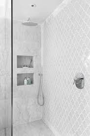 bathroom white tiles: contrast wetroom wall grey morrocan style tile inset perhaps walker zanger vibe ashbury in white shower designed by notting hill
