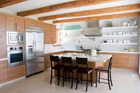 image kitchen open wood shelves natural