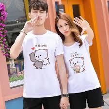 2020 <b>Summer</b> Lovers <b>Peach</b> Cat White Korean <b>Short</b>-<b>sleeved</b> T-shirt ...