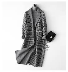 AYUNSUE Wool <b>Coat</b> Women <b>2019 Fashion</b> Autumn Plaid Woolen ...