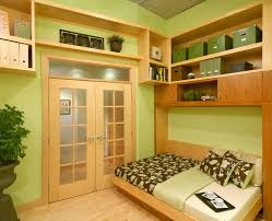 lake country builders inspiration for a contemporary home office remodel in minneapolis with green walls and alluring murphy bed desk