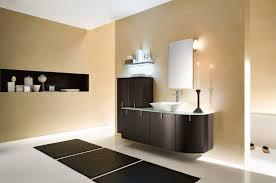 bathroom large size gorgeous brown palette color wall painting combined with low lighting illuminate modern bathroom lighting design