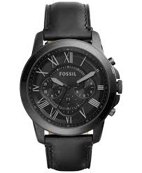 <b>Fossil</b> Men's Chronograph Grant Black Leather Strap <b>Watch</b> 45mm ...