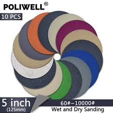 2019 <b>POLIWELL 5 Inch</b> 125mm Sanding Discs 60~10000 Grit ...