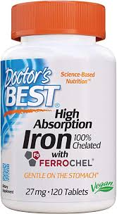 Doctor's Best <b>High Absorption Iron</b> Tablets, 27 mg, 120-Counts ...