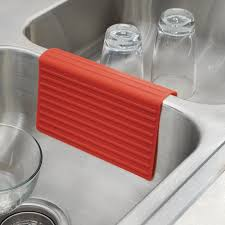 lineo kitchen sink saddle interdesign  lineo kitchen sink saddle double sink protector cover red