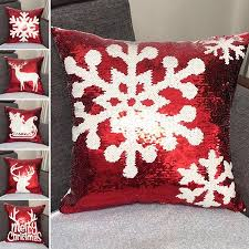Cheers <b>Christmas Snowflake Elk Print</b> Sequin Pillow Case Cover ...
