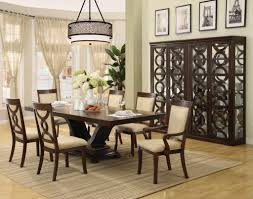 astonishing modern dining room sets: astonishing drum shaped dining room lighting hung above beautiful centerpiece on wooden dining table