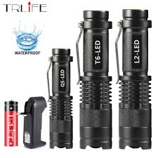 Mini LED Flashlight 8000LM Q5 <b>T6 L2 LED</b> Torch Adjustable Focus ...